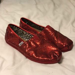 Toms Sparkly Red Shoes